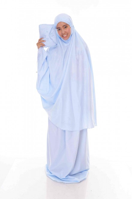 Telekung Cotton Pastel_Baby Blue