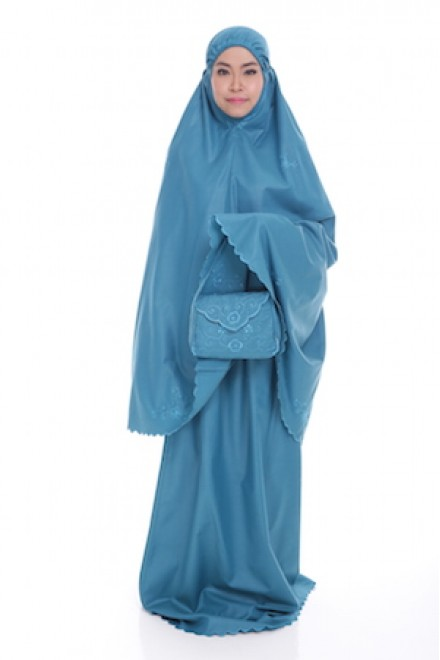 Telekung Cotton Pastel_Ocean Blue