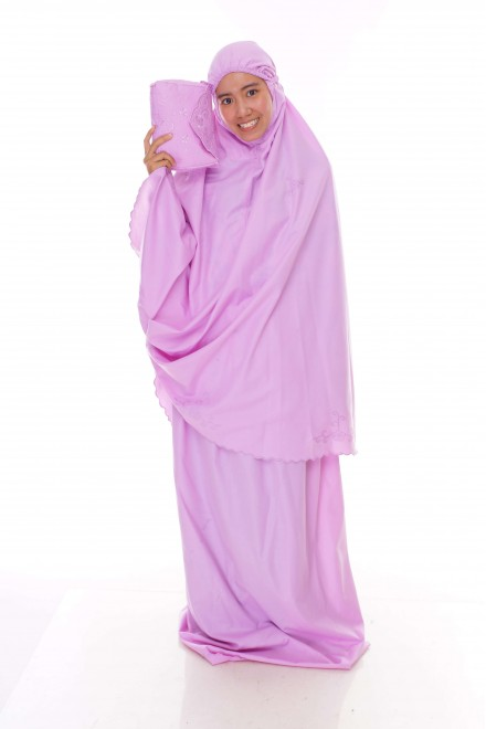 Telekung Cotton Pastel_Pretty Pink