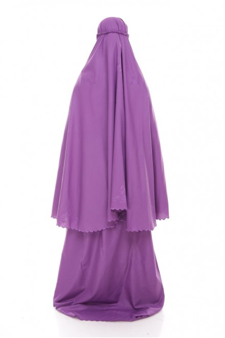 Telekung Cotton Pastel_Purple Orkid
