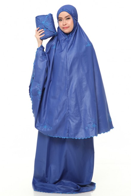 Telekung Cotton Pastel_Royal_Blue