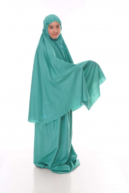 Telekung Cotton Pastel_Royal Green