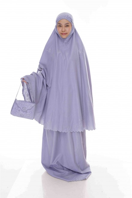 Telekung Cotton Pastel_Sofy Grey