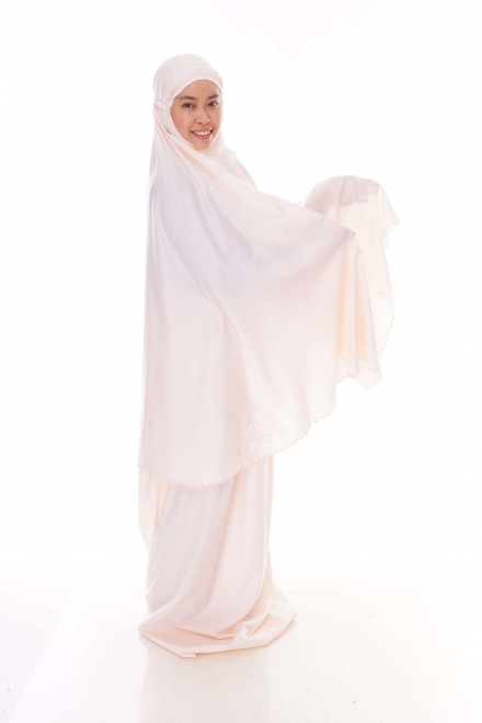 Telekung Cotton Pastel_Soft Peach